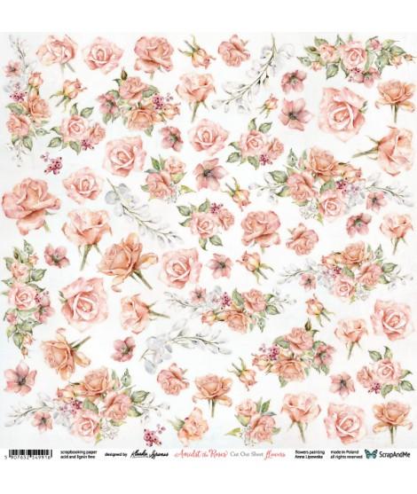Лист бумаги 12х12 для вырезания Amidst The Roses цветы от ScrapAndMe