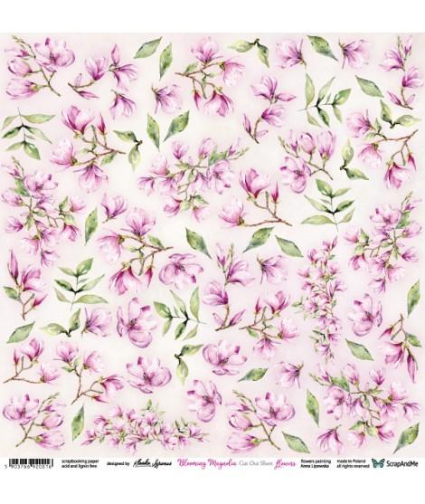 Лист бумаги 12х12 для вырезания Blooming Magnolia цветы от ScrapAndMe