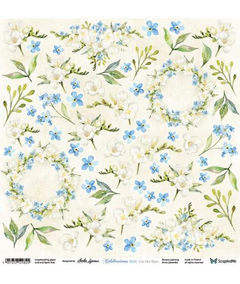 Лист бумаги 12х12 для вырезания Celebrations Blue Flowers от ScrapAndMe