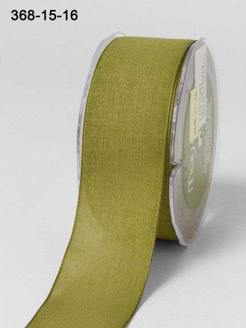 Мягкая полупрозрачная лента May Arts. Ширина 3,81 см. Оливковый