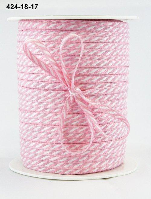 Лента от May Arts. Диагональные полосы. Ширина 0,32 см. Розовый