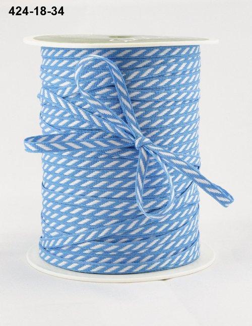 Лента от May Arts. Диагональные полосы. Ширина 0,32 см. Голубой