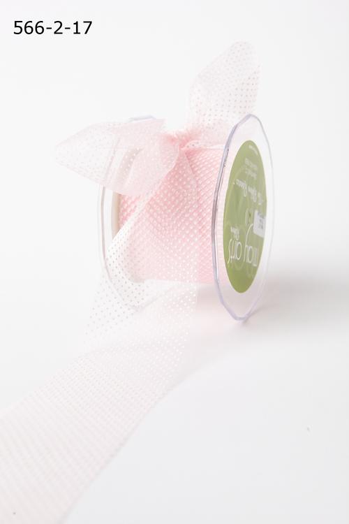 Лента от May Arts. Прозрачная сетка в точку. Ширина 6,35 см. Розовый