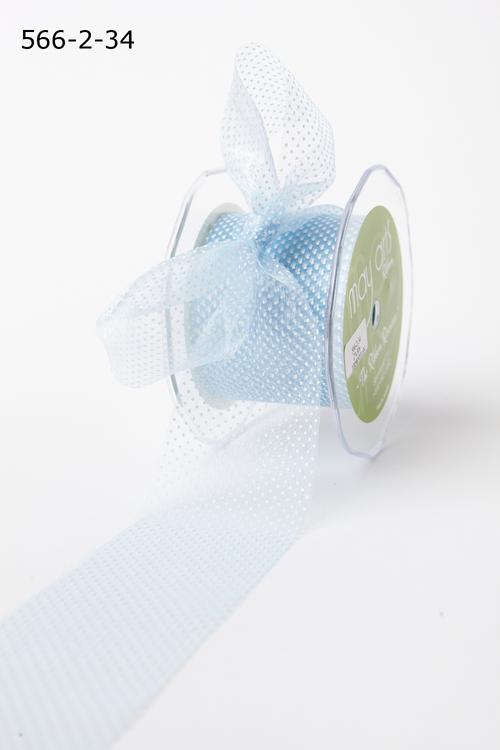 Лента от May Arts. Прозрачная сетка в точку. Ширина 6,35 см. Голубой