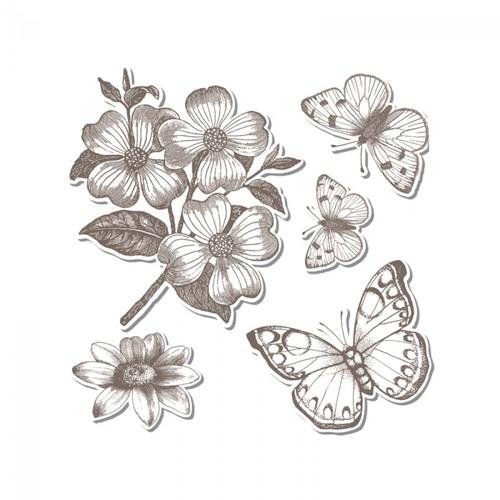 Набор штампов и ножей Sizzix Framelits Die Set 5PK w/Stamps - Butterflies