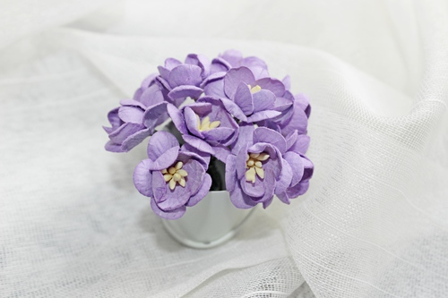 Цветы вишни фиолетовые 5шт.