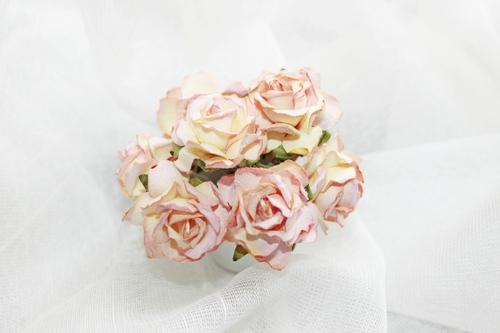 Розы кучерявые 30 мм, розово-желтые 5шт.