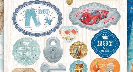 Набор вырубных украшений из чипборда Bee Shababy коллекция Boy Story