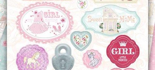 Набор вырубных украшений из чипборда Bee Shababy коллекция Sweet GIRL