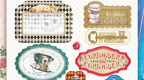 Набор вырубных украшений из чипборда Bee Shabby коллекция Follow the Alice!