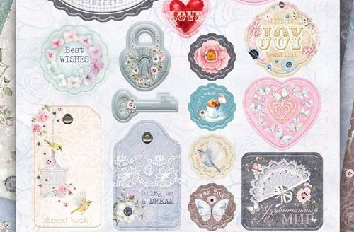 Набор вырубных украшений из чипборда коллекция Happiness