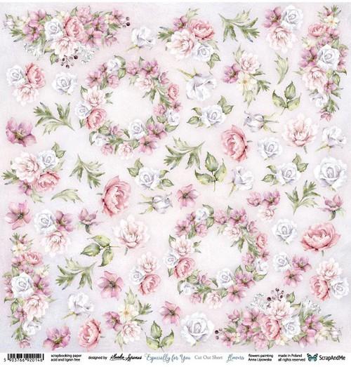 Лист бумаги 12х12 для вырезания Especially For You Flowers  от ScrapAndMe