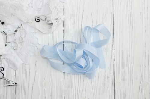Шебби-ленты голубое кружево