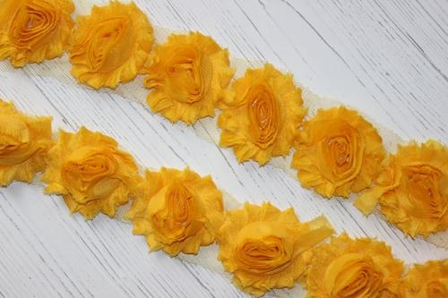 ЗD шифоновые розочки Желтые