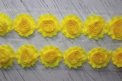 ЗD шифоновые розочки Ярко-желтый