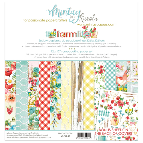 Набор бумаги 12х12  Farmlife collection от Mintay Papers