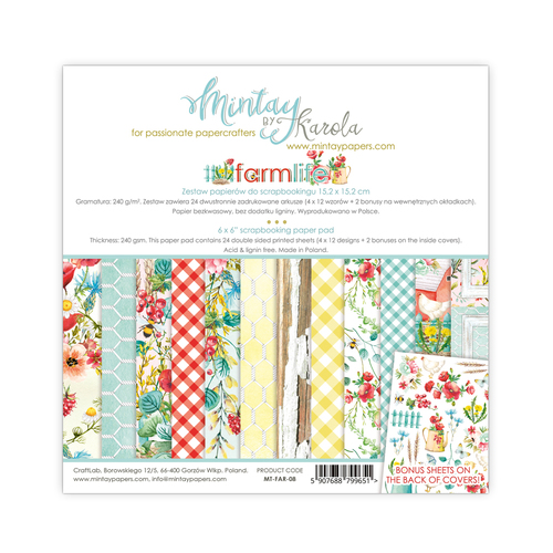 Набор бумаги 6х6  Farmlife collection от Mintay Papers