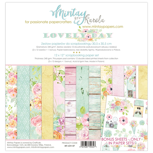 Набор бумаги 12х12  Lovely Day collection от Mintay Papers