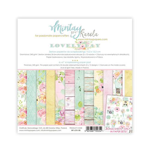 Набор бумаги 6х6  collection Lovely Day от Mintay Papers