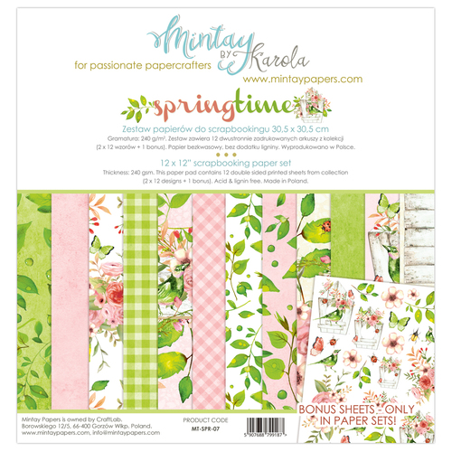 Набор бумаги 12х12 Springtime collection от Mintay Papers