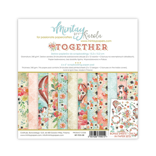 Набор бумаги 6х6  Together collection от Mintay Papers