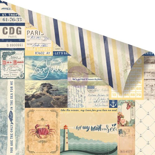 Prima Marketing St. Tropez Collection - 12 x 12 Double Sided Paper Pampelonne with Foil Accents