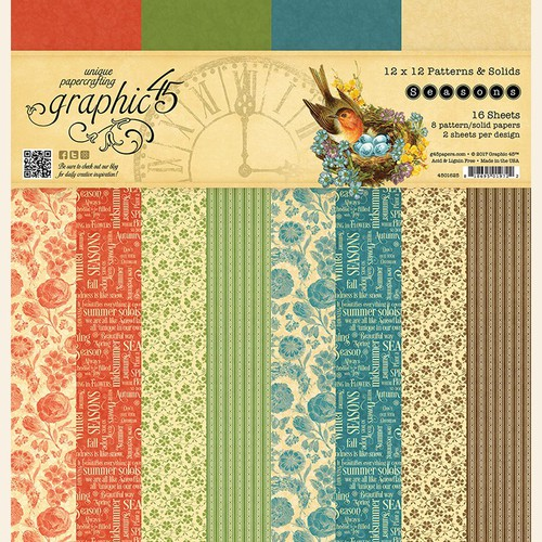 Набор бумаги Graphic 45 Seasons patterns & solids pad